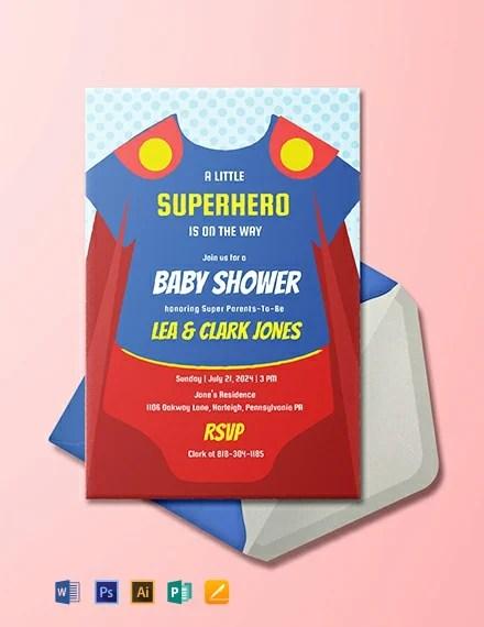Free Superhero Onesie Baby Shower Invitation Template Word