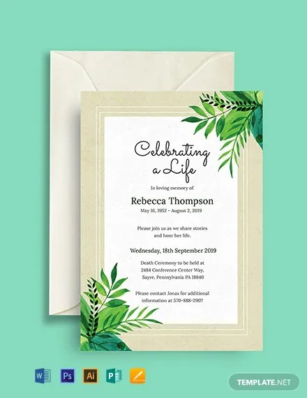 FREE Death Ceremony Invitation Template Download 884 Invitations in PSD InDesign Word