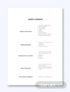 Free Itinerary Templates [ Download & Editable