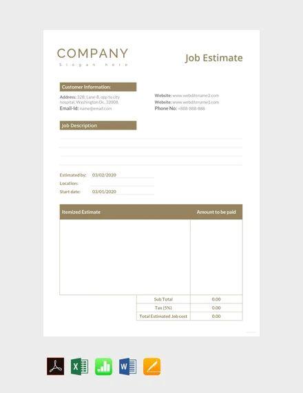 job estimate template free download