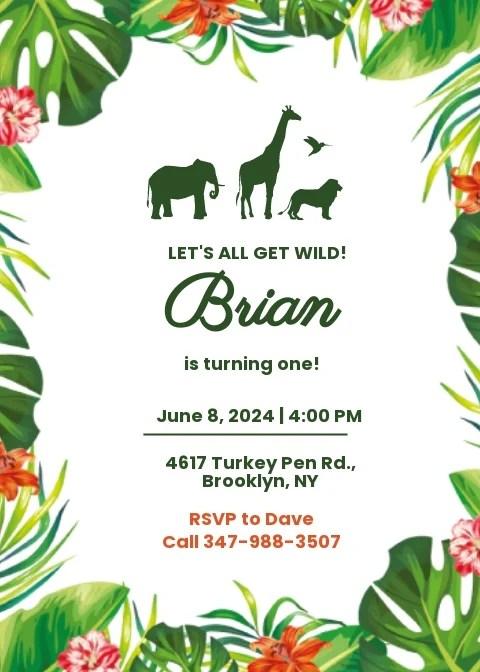 jungle birthday invitation card