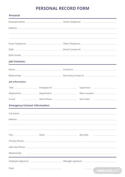 Employee Information Form Template Download 239 Sheets In Word Pages PDF