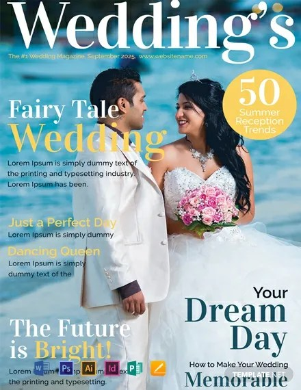 FREE Wedding Magazine Cover Template Download 54 Magazines in Illustrator PSD Indesign