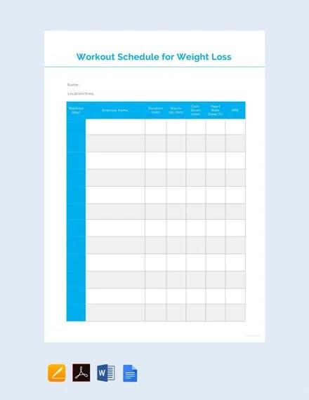 Google Sheets Weight Loss Template : google, sheets, weight, template, Download, Workout, Schedule, Templates, Google, Template.net
