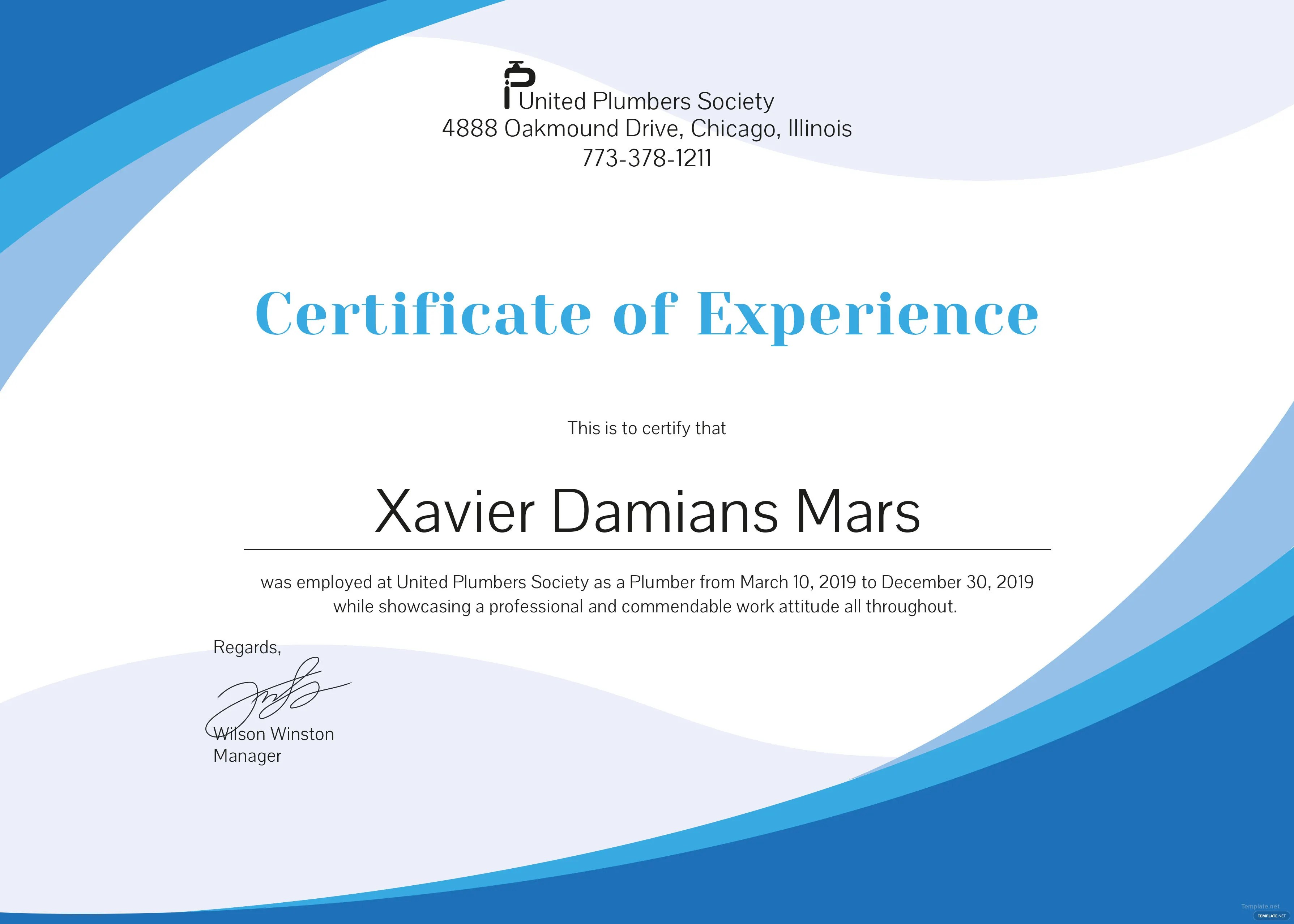 Free Plumbing Experience Certificate Template In Psd Ms