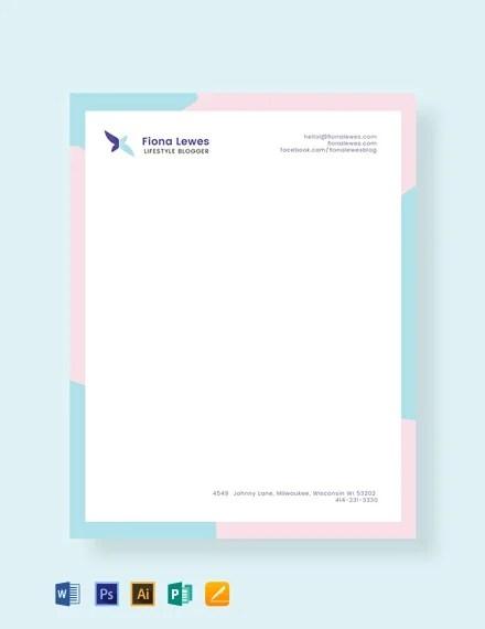 FREE Personal Letterhead Template Download 140 Letterheads In PSD Illustrator Word