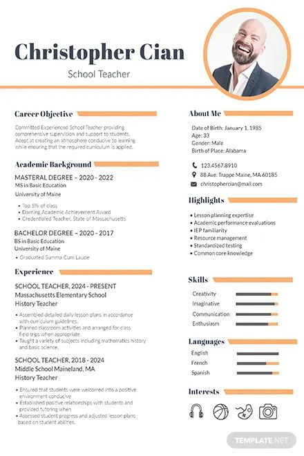 free one page teacher resume template