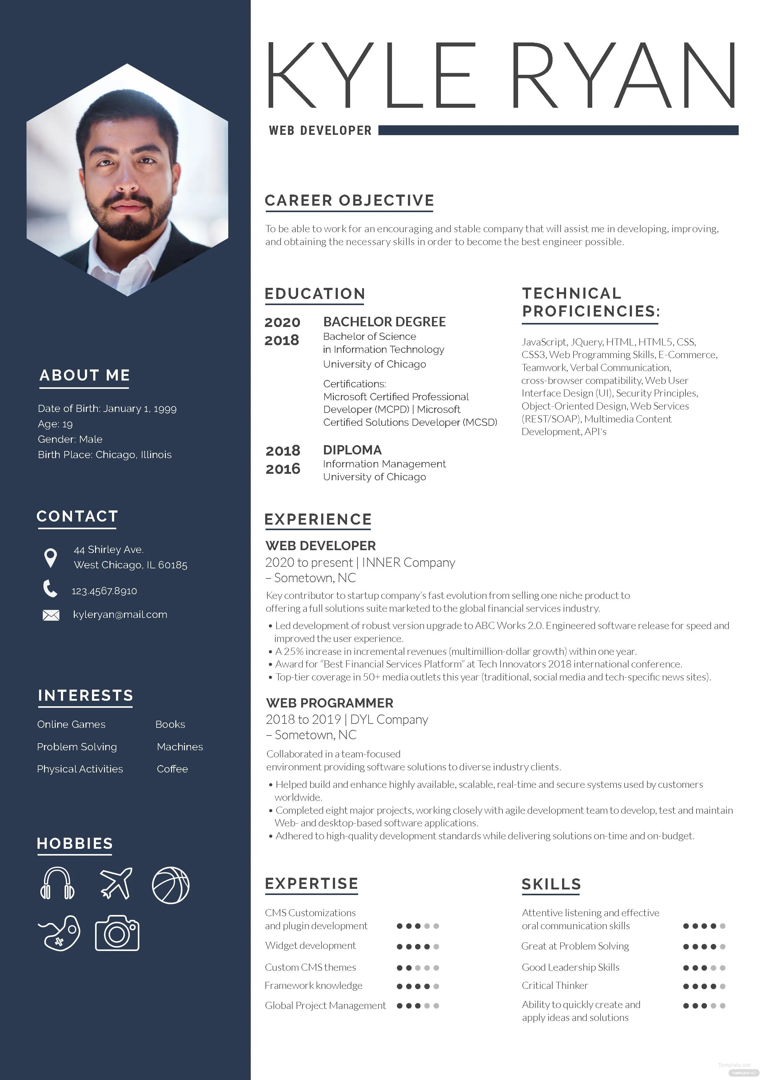 Web Developer Resume Template in Adobe Photoshop