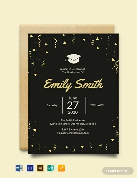 FREE Graduation Invitation Template Download 884