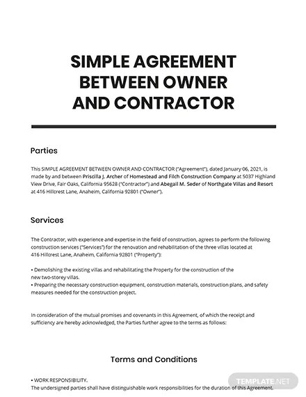 Services, which are the specific descriptions of tasks to perform or products to deliver. Simple Agreement Between Owner And Contractor Template Google Docs Word Apple Pages Pdf Template Net