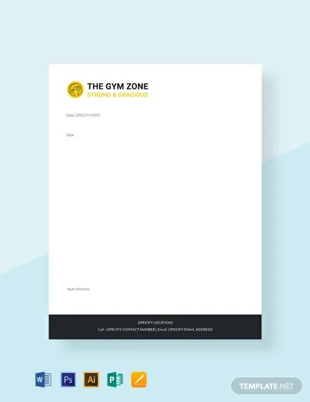 FREE Gym Letterhead Template Download 84 Letterheads In