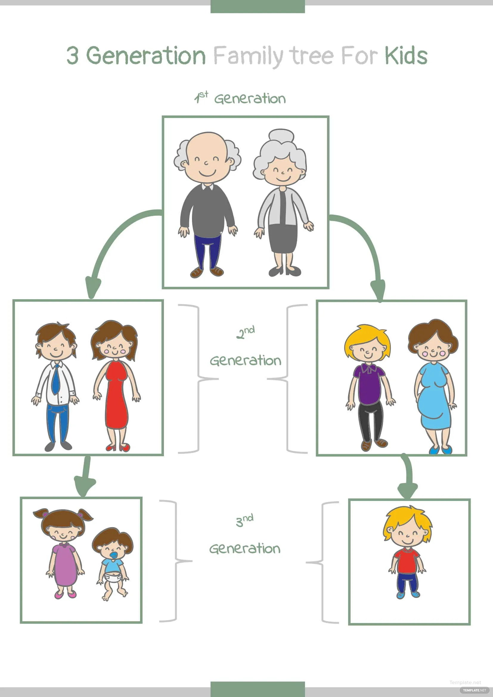3 Generation Kid Family Tree Template In Microsoft Word