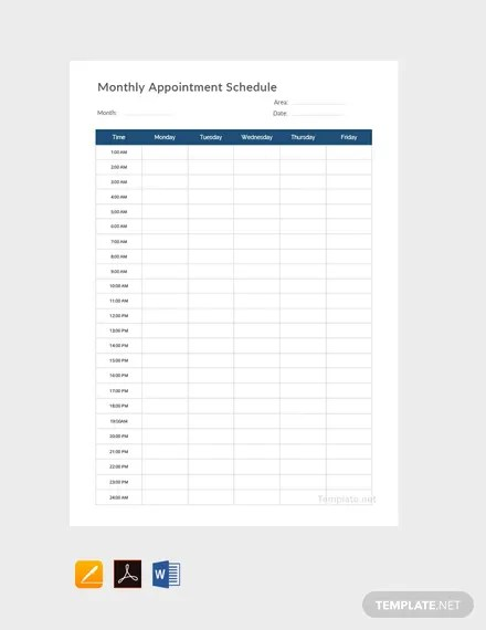 FREE Monthly Appointment Schedule Template - PDF | Word ...