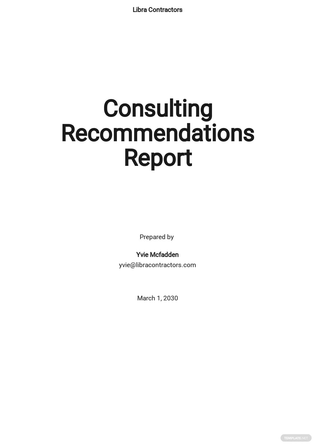 Consulting Recommendations Report Template [Free PDF