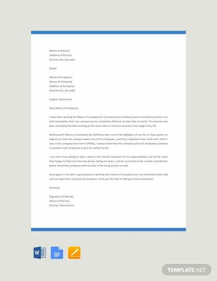 Retirement Letter Examples.Letters Of Retirement Templates Resume Examples Resume