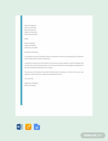 FREE Retirement Letter Example Download 1440 Letters in Word Apple Pages Google Docs