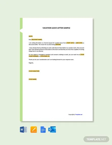 Free Vacation Leave Letter Sample Template Word Doc Google Docs Apple Mac Pages Outlook