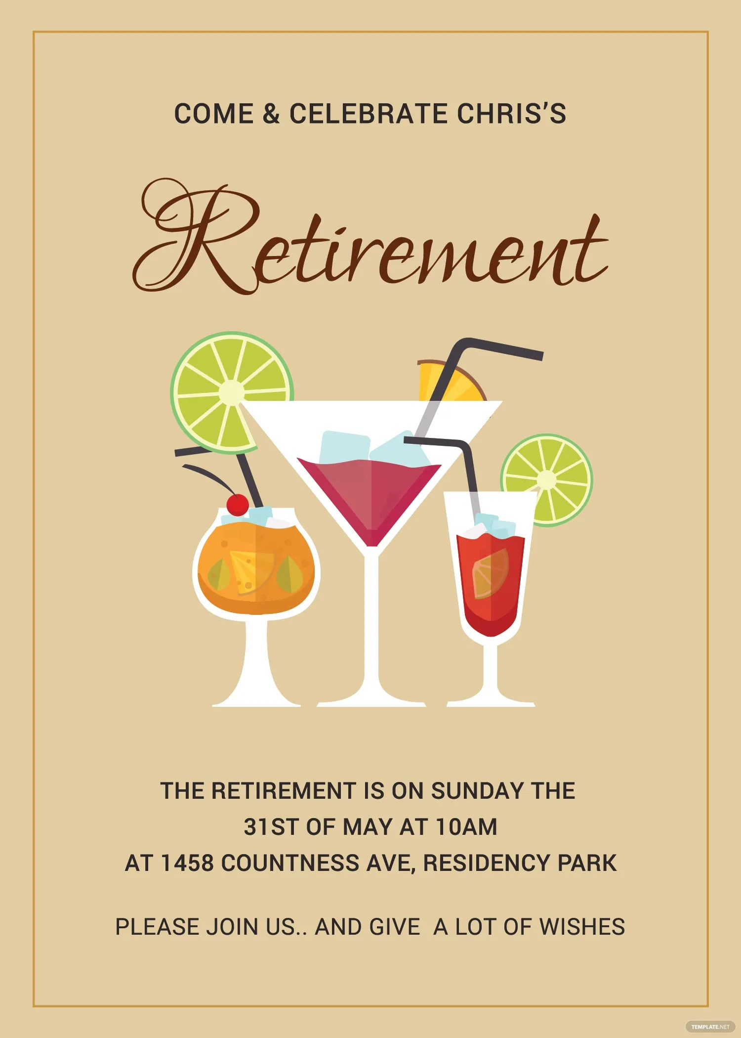 Printable Retirement Party Invitation Template In Adobe