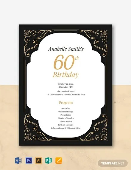 free 60th birthday program