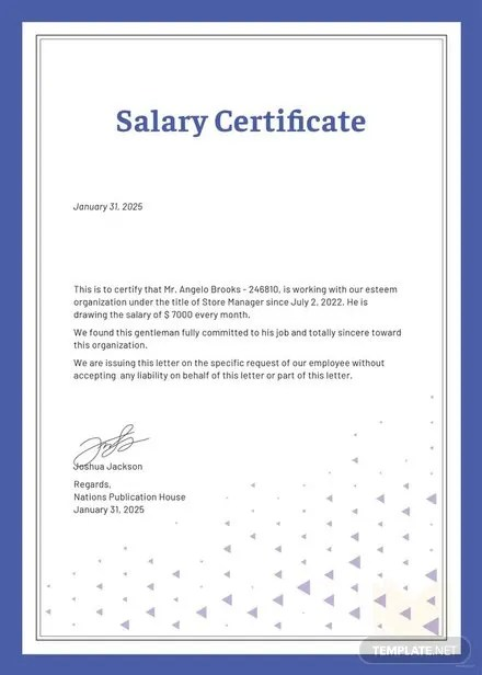 Free Salary Certificate Template Download 200