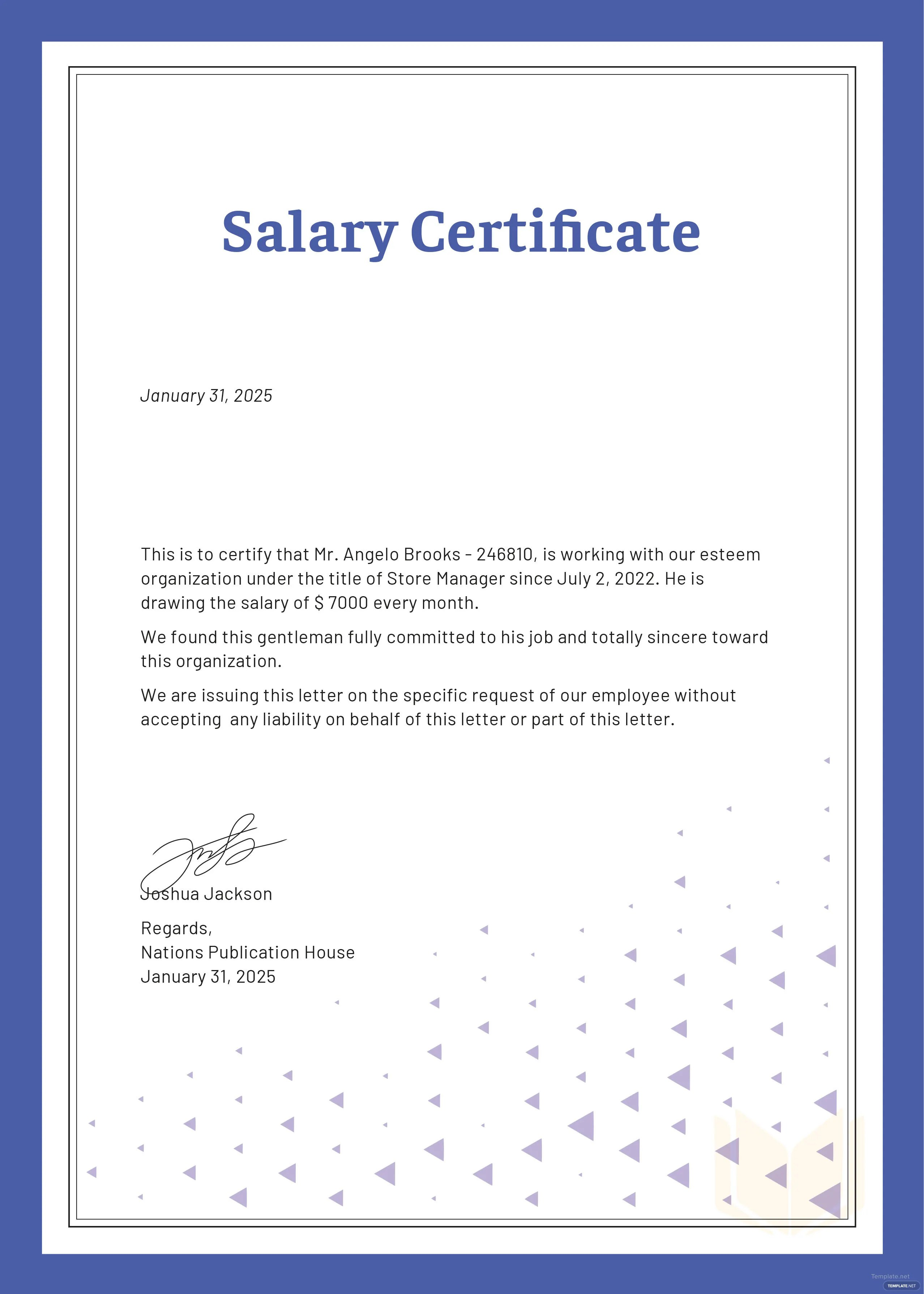 Free Salary Certificate Template In Microsoft Word