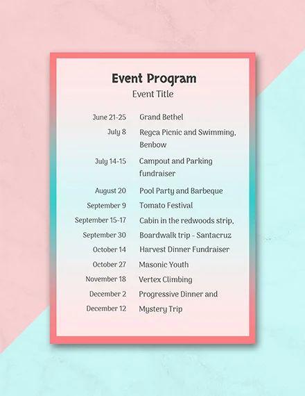 program agenda template