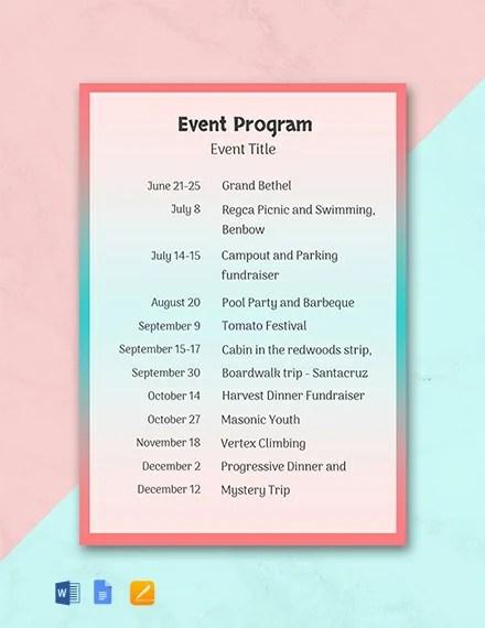 free event program template