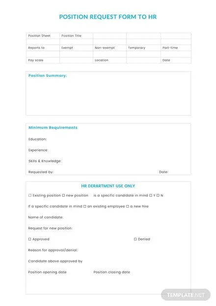 Position Request Form to HR Template: Download 67+ Forms