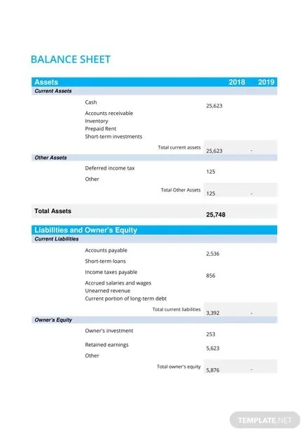 Balance Sheet Template | Free Templates