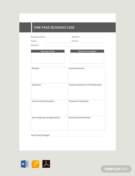 FREE One Page Business Case Template Download 91 Notes In Word Excel Apple Pages Numbers