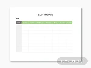 Weekly Study Schedule Template in Microsoft Word