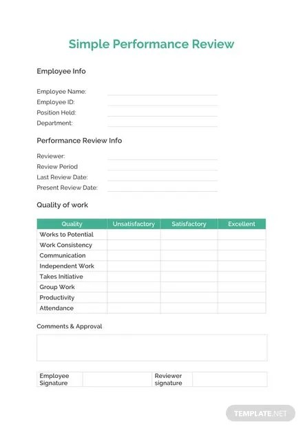 Simple Performance Review Template: Download 67+ Forms in