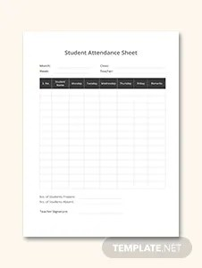 Training Attendance Sheet Template in Microsoft Word