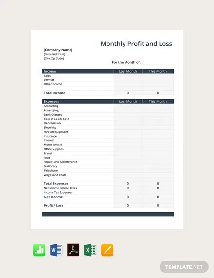 Profit and loss templates to help you monitor your business income make life easier by using a profit and loss template to monitor your company's income and expenses. Monthly Profit And Loss Template Google Docs Google Sheets Excel Word Apple Numbers Apple Pages Pdf Template Net