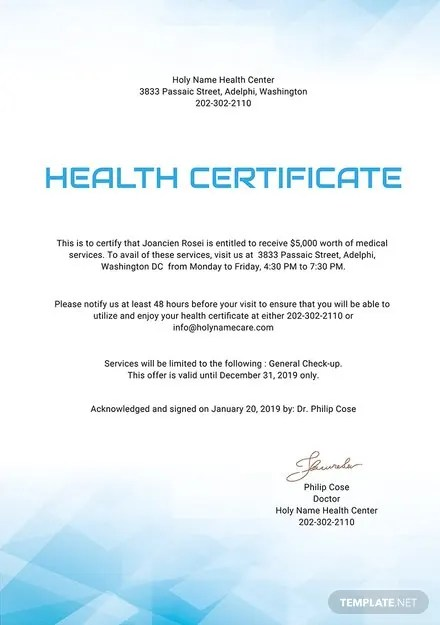 Free Health Certificate Template Download 200 Certificates In Word Publisher Illustrator