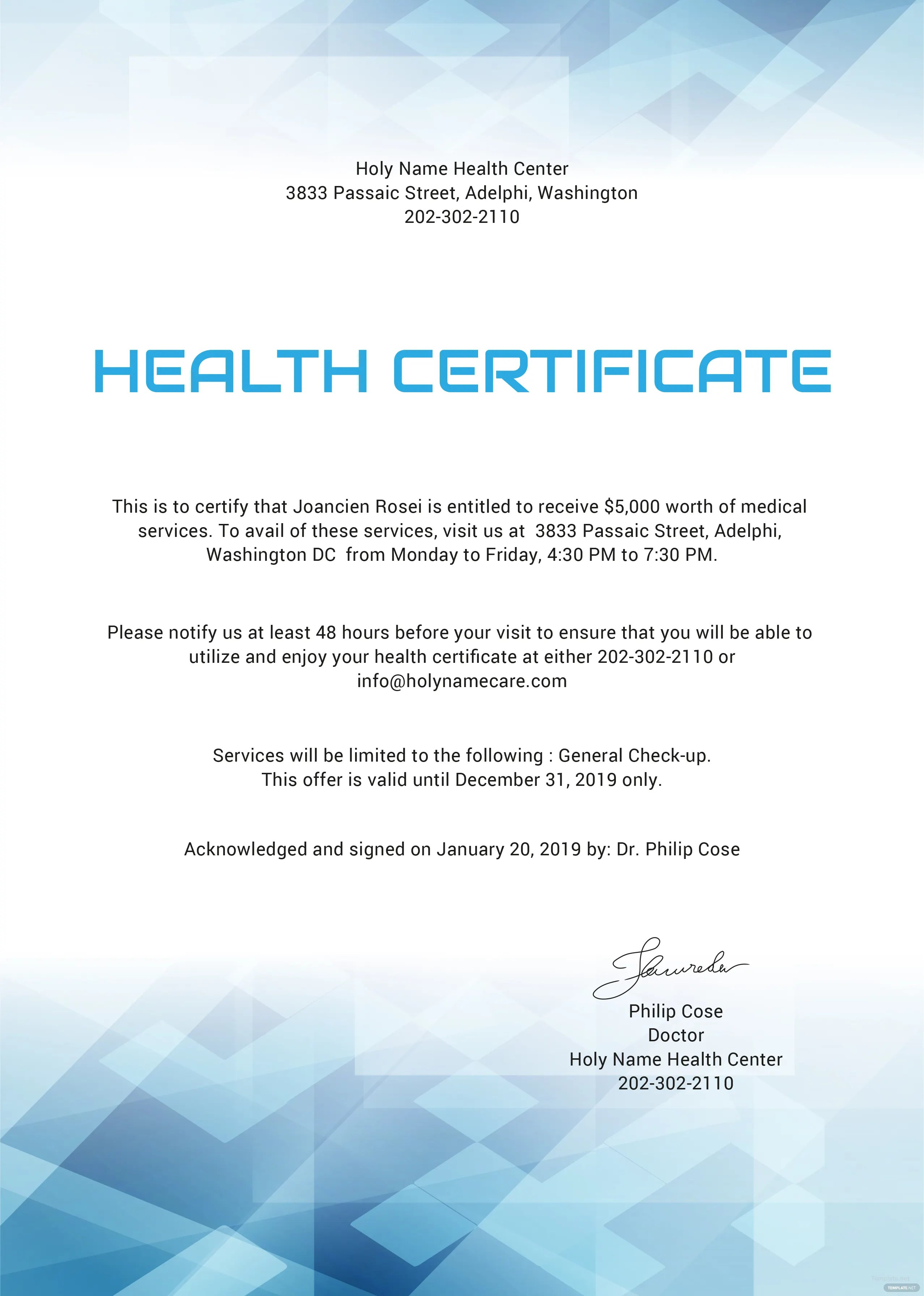 Free Health Certificate Template In Microsoft Word