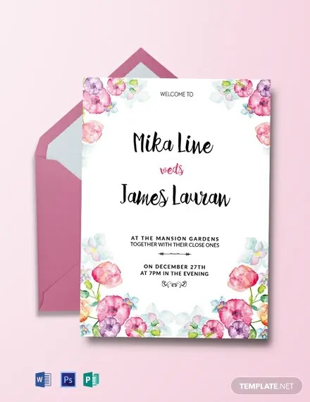 Free Watercolor Fl Wedding Invitation Template Word