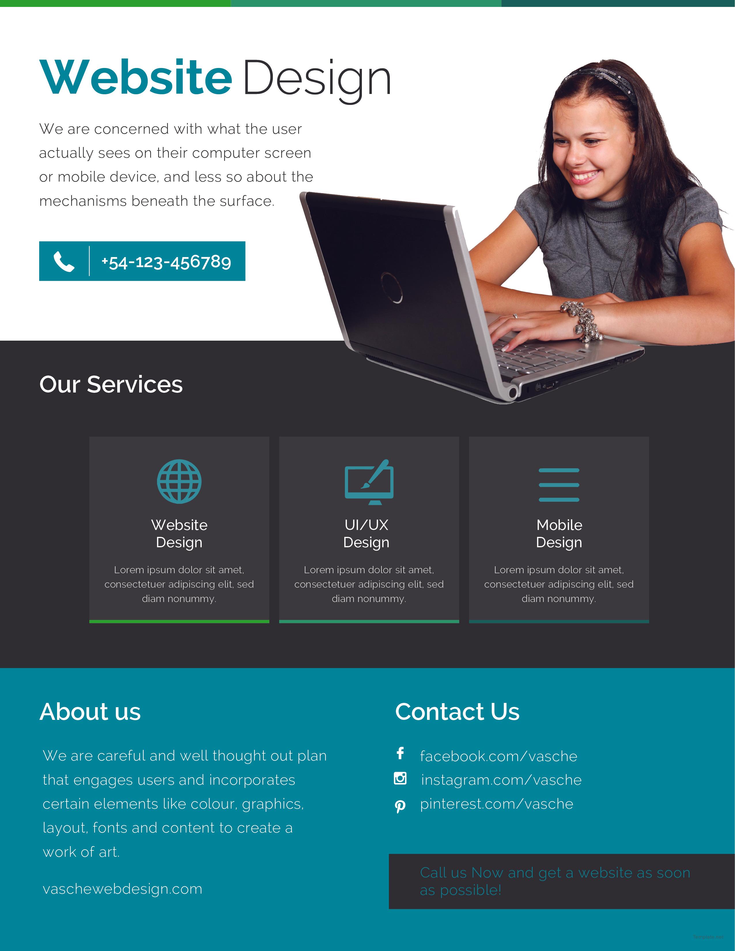 Free Website Design Flyer Template In Adobe Photoshop