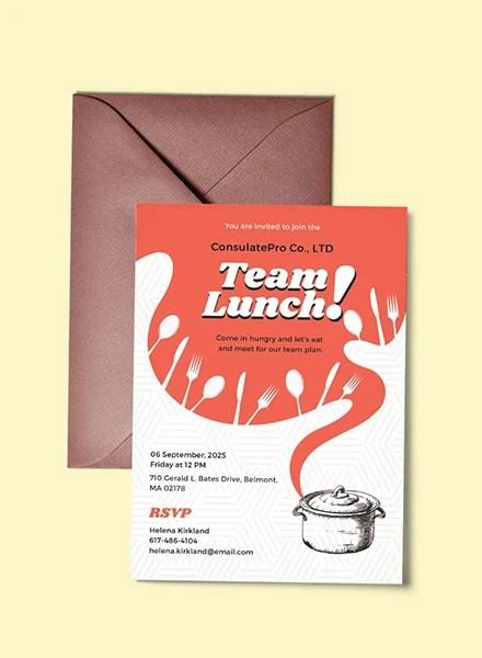 Free Lunch Invitation Template In Illustrator