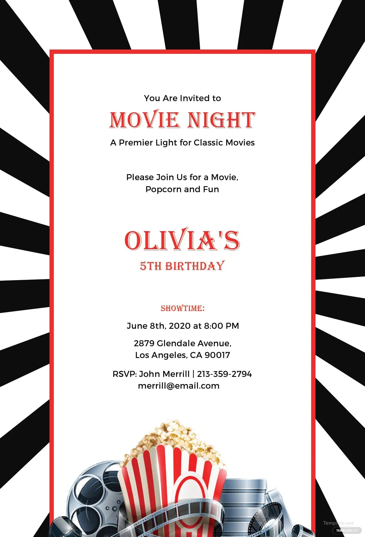 Free Movie Night Invitation Template In Adobe Photoshop Illustrator InDesign Microsoft Word