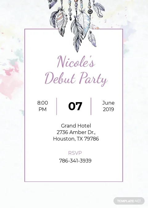 boho debut invitation template free
