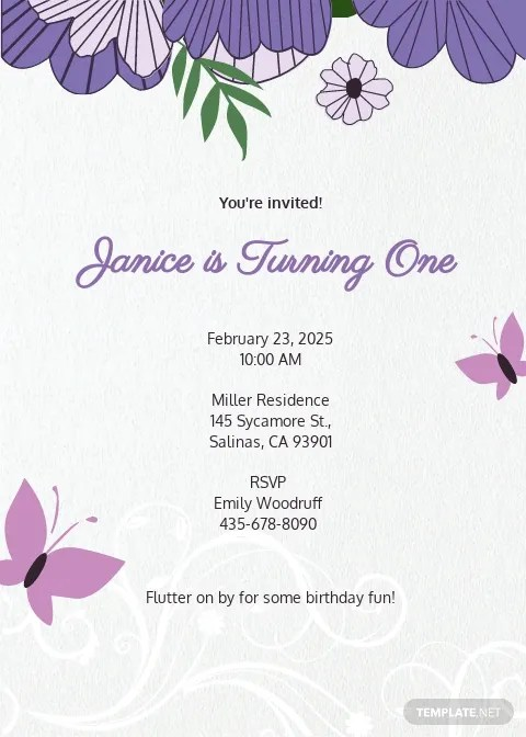 Butterfly Invitations Templates Free : butterfly, invitations, templates, Birthday, Invitation, Templates, Adobe, Photoshop, (PSD), Template.net