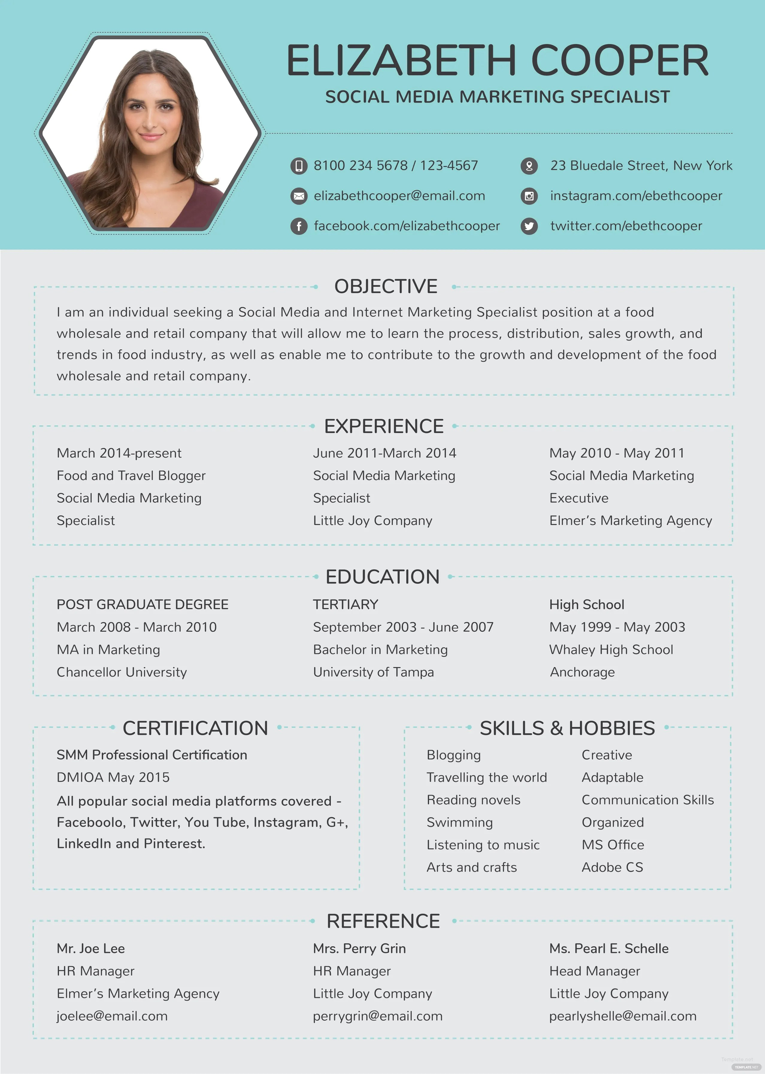 Free Social Media Specialist Resume Template in Adobe