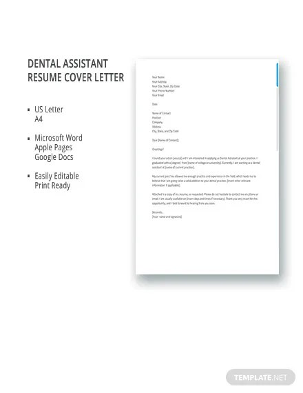 FREE Dental Assistant Resume Cover Letter Template Download 2538 Letters In Word Apple Pages