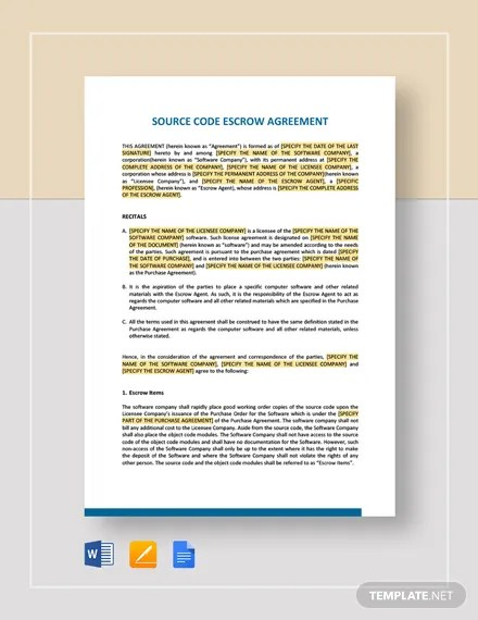 The escrow agreement must also include full details of the conditions of the escrow arrangement and process that is between the parties. 12 Escrow Agreement Templates Free Word Pdf Google Docs Pages Format Download Free Premium Templates