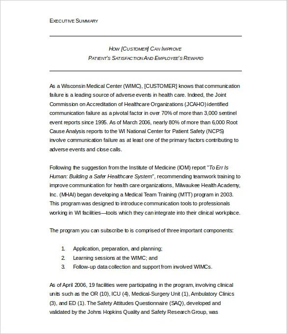 apa format executive summary template