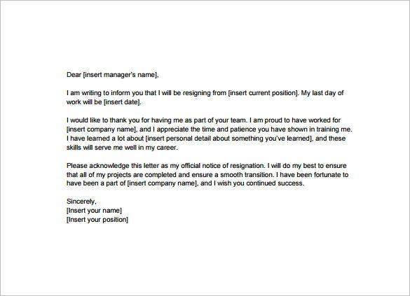 format of resignation