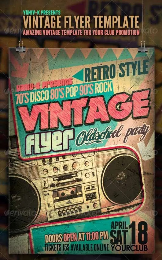 17 Stylish Vintage Flyer Templates PSD Word Publisher AI Apple Pages Free Amp Premium