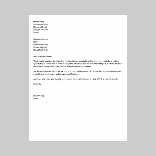 template of a job application letter