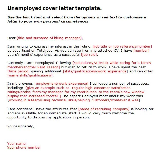 Cover Letter Unemployed Person